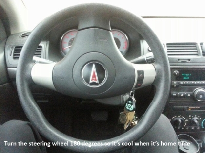 turn steering wheel to keep cool